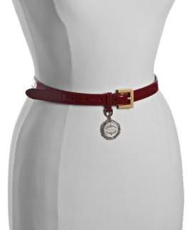 d and G red patent belt for black rain doesnt mean frumpy.cinch  the waist in.