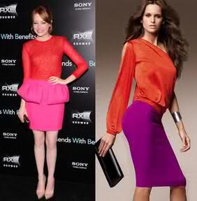 Emma stone in gambattista valli and model in Victoria secret pencil skirt..