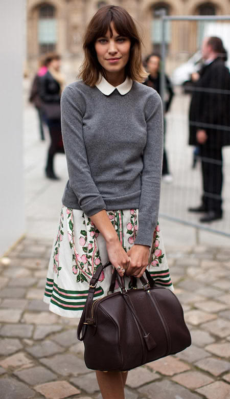 our ever stylish Alexa chung..strikes the perfect pose in collars and print.
