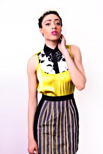kemkem studio..peter pan collar shirt and aso oke skirt.this outfit is a complete style statement