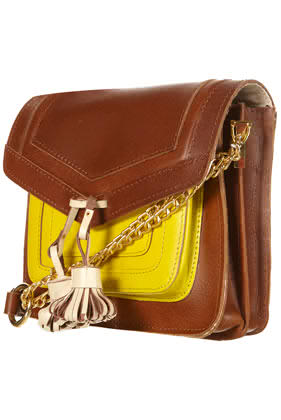 bulvaria styled tan and yellow tasselled bag from topshop at 45pounds--note the statement tassels!!