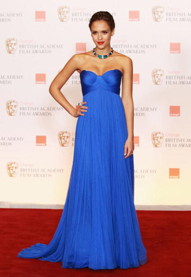 Jessica alba tows the blue trend at the baftas..regal and stately and just fabulous