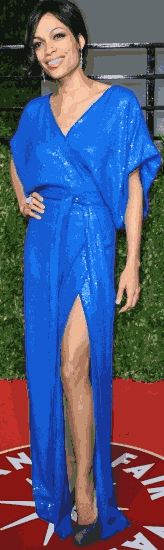 rosario Dawson showing some blue thigh..in this slinky hot number..